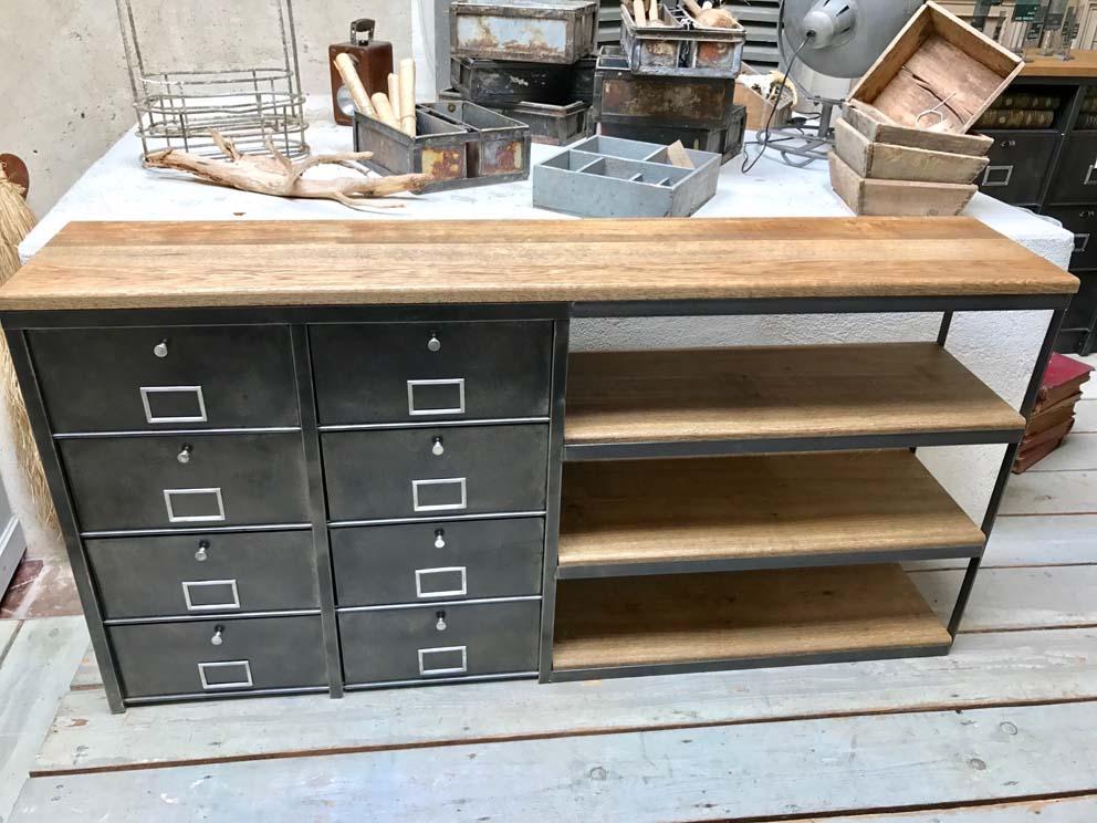 Meubles tv industriel bois et m tal l 39 or du temps - Meuble industriel bois et metal ...